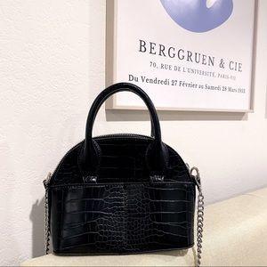 Faux Croc Leather Mini Crossbody Bag